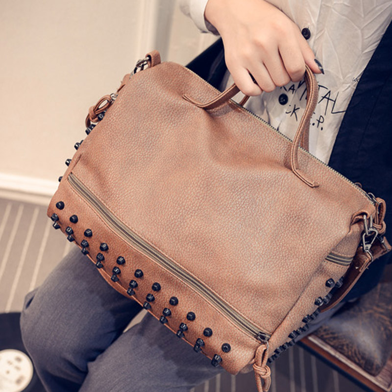 Free Shipping 2016 Rivet Motorcycle Rivet Handbag Synthetic Leather Women Handbags Cross Solid Messenger Handbags 31*23*10cm<br><br>Aliexpress