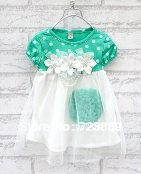 Free Shipping + Retail 2 Colors Hot Summer Girls Flower Dress 0-3 Years Kids Short-sleeve Dress Children Clothes Clothing TL-001