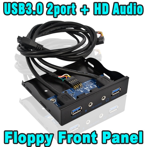 2015 3.5 inch 20 Pin USB 3.0 2 Ports + Hub HD Audio Mic Connector Adapter Internal Floppy Bay Front Panel Bracket with Cable(China (Mainland))