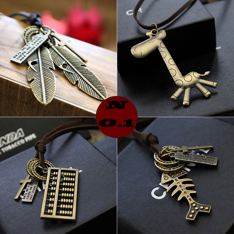 Vintage Art cow leather cord lock key glasses abacus pendant cross pendant necklace chain length sweater free shipping(China (Mainland))