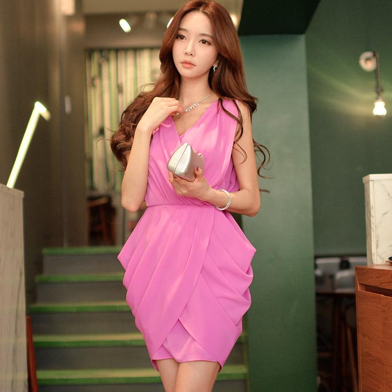 Sleeveless Dress Pink Doll 2015 spring summer new women's fold temperament Chiffon Dress