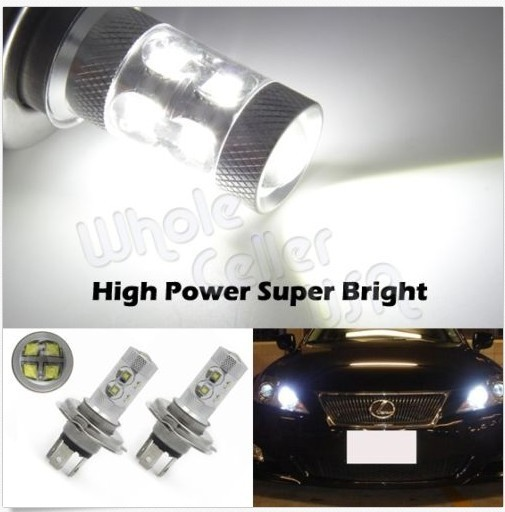 FREE SHIPPING 2x HID White Car Auto 60W LED H4/9003 DRL Day Driving Head Light Fog Bulb Lamp(China (Mainland))