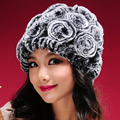 Hot Sale Winter Fur Hats Women Natural Rex Rabbit Fur Caps Wholesale Retail Real Rex Rabbit