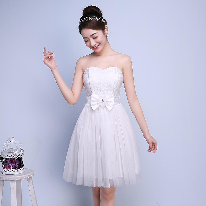PTH-C1BS#True picture 2016 new bridesmaid dresses short show thin boob tube top sister formal graduation dress party White(China (Mainland))