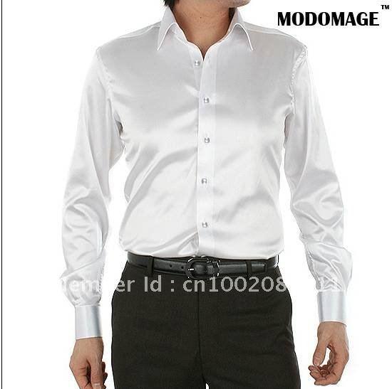 Mens Casual Silk Shirts Long Sleeve