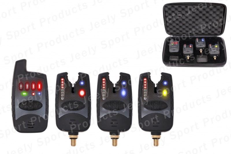 Free shipping 8 leds line wireless carp bite alarm JY-37(1 receiver + 3 alarms)<br><br>Aliexpress