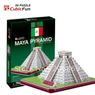 CubicFun 3D puzzle Child gift DIY toy paper model C073H Maya Pyramid of KUKULCAN Mexico New Edition world's great architecture(China (Mainland))
