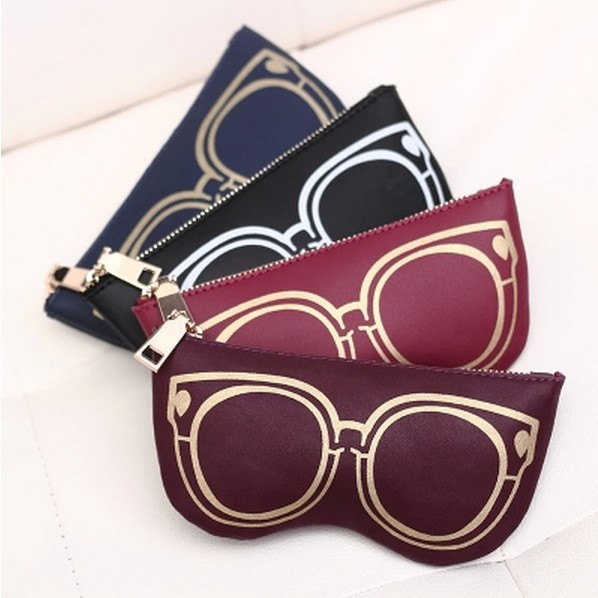New Women cheap clutch bags Fashion Pu Leather Daily Storage Coin Purse lady Wallet zipper zero wallets glasses bag 4 Colors(China (Mainland))