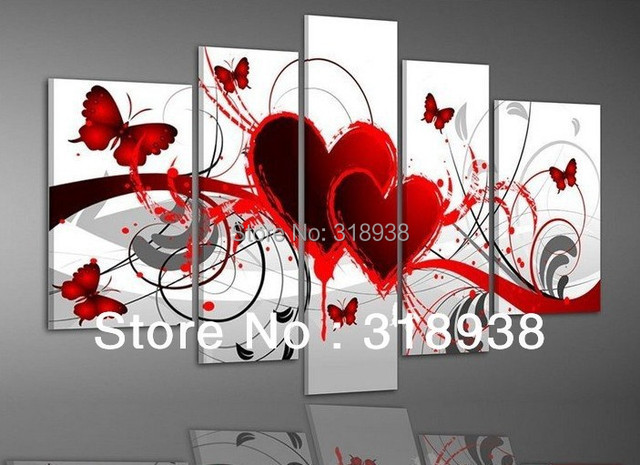 Framed Hand painted 5 piece oil painting Red heart love butterfly wall art home decoration  Free shipping sa-280