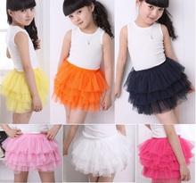 Hot Sale Girls Tutu Lace Skirt Layered Dancing Skirts Children pouf rara Tulle Skirts(China (Mainland))