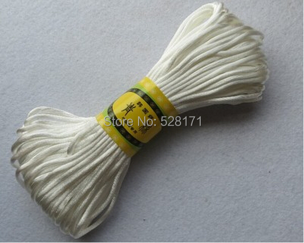 Free Shipping 2.5mm x 20meters/lot Hot Sale White Color DIY Braided Cord 100% Polyester Cord,Chinese Knotting Cord for Gifts(China (Mainland))