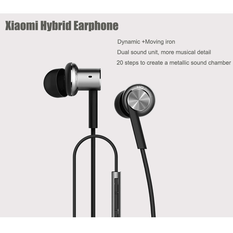 Xiaomi Mi IV Hybrid Original Earphones Wired Control Headphone with MIC for Android iOS for cell phone For MI4 MI3 Redmi- Silver<br><br>Aliexpress