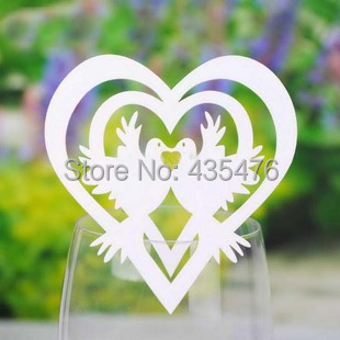 ON SALE Free Shipping 120pcs White Love Bird Laser Cut Pearlescent Wine Glass Place Card Table Setting Wedding Party Decoration(China (Mainland))