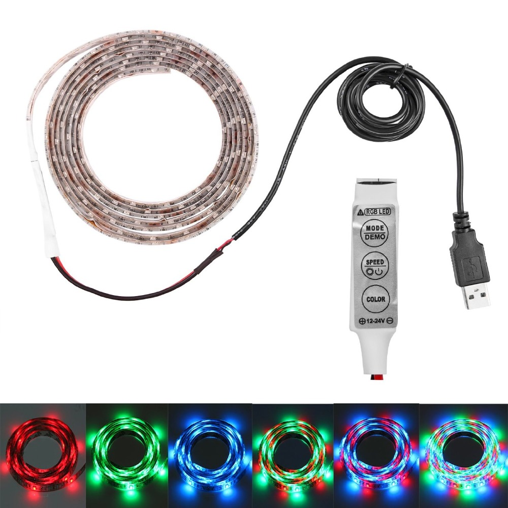 RGB USB LED Strip Light DC5V TV PC Background Lighting nonWaterproof Cuttable With USB Cable backlight strip Tape lamp white red(China (Mainland))