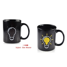Magic Heat Sensitive Light Bulb Pattern Color Changing Mug Ceramic Coffee Tea Cup