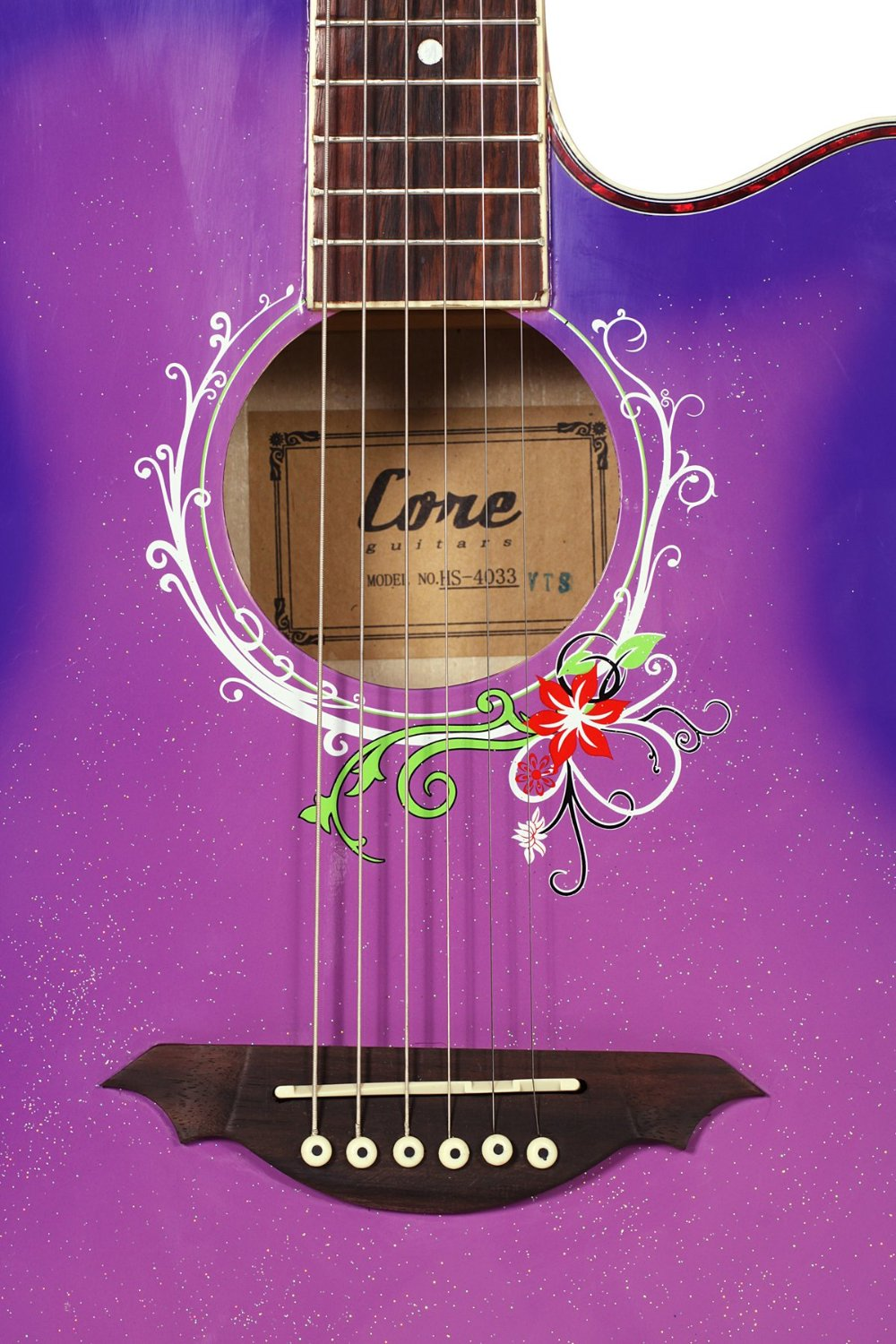 girls guitar beautiful design guitar with purple pink color and flower hole<br>