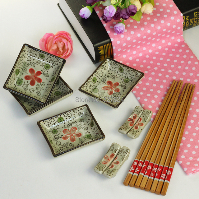 free shipping hot Chinese style weidie endulge japanese style tableware chopsticks plate chopsticks rack sushi set gift box