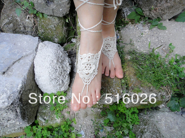 Crochet barefoot sandles, foot jewelry, Flower wedding barefoot sandals,sexy,yoga,steampunk sandals, beach pool 5pair/lot