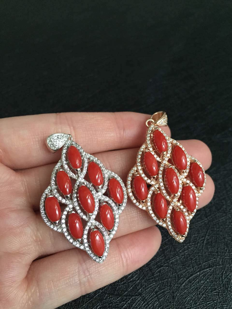 925-sterling-silver egg surface size 4mm**mm,pendant size 45mm*26mm 925 sterling silver red coral pedant(China (Mainland))