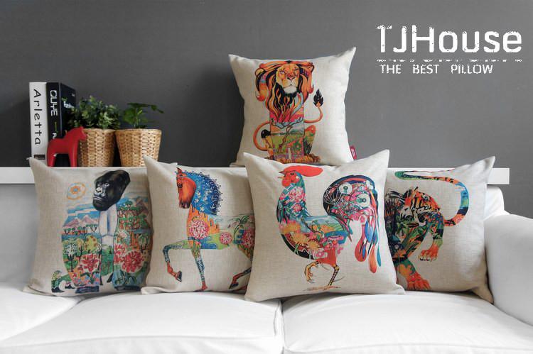 american british simple life style cartoon ethnic creative animal linen pillow car cushion case - Mayday Life store