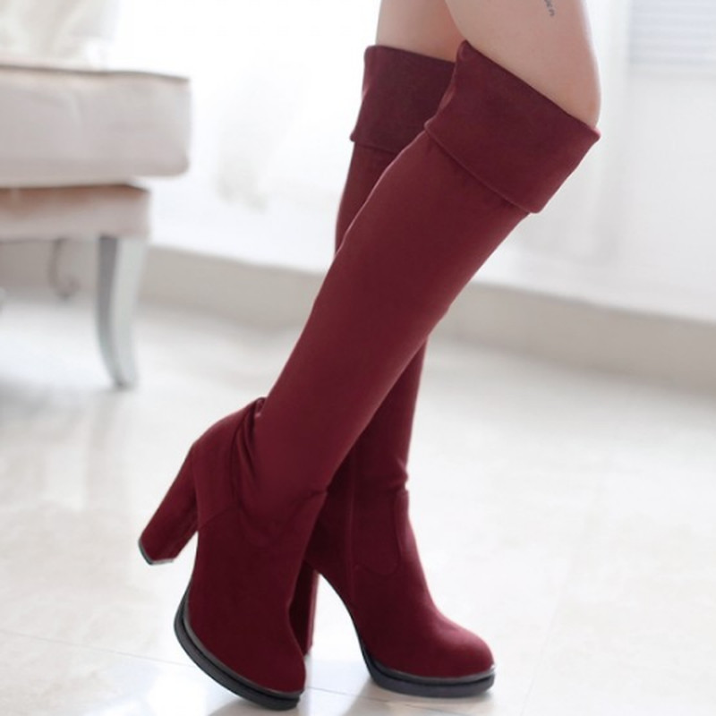 European Style Woman sexy Solid Knee High Warm Winter Long Boots Sexy Casual Round Toe Elegant Square High Heel Platform Boots