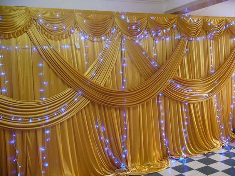 Gold silk curtains promotion shop for promotional gold for Wedding table design tool