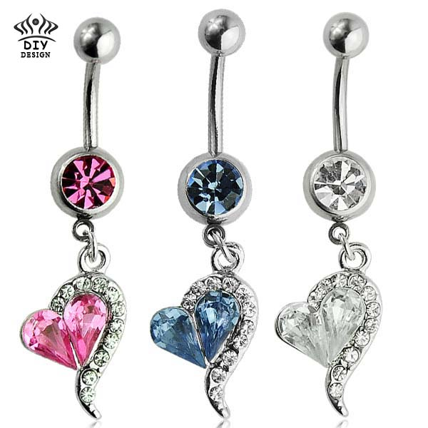 1pc 14G Sexy Heart Crystal Dangle Belly Button Rings Body Piercing ReverseEarring Navel Ring Body Jewelry Pircing Nombril(China (Mainland))