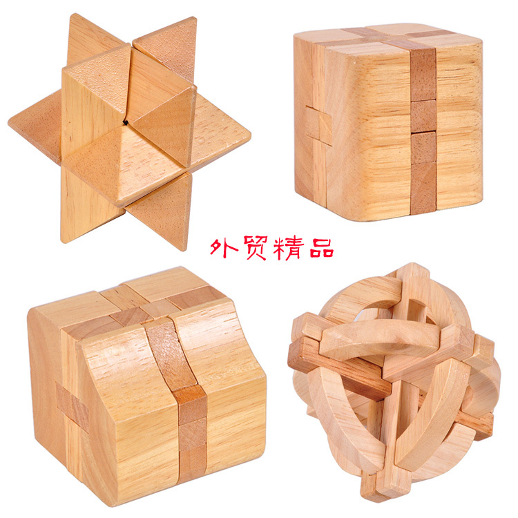 Free shipping,4 pieces,educational toys,high-quality,wooden,Kong Ming Lock.195(China (Mainland))