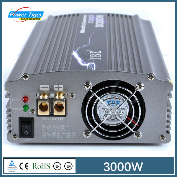 Factory sale TBE3000watt 3000W Modified Sine Wave Car Boat DC 12V to AC 220V Power Inverter 3000W Auto Adapter Charger TBE-3000W(China (Mainland))