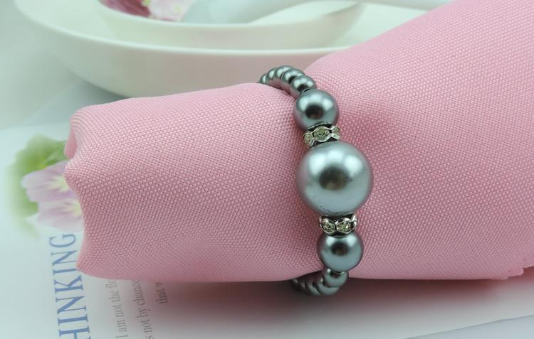 20pcs lot Free Shipping wholesale Gray Pearls Napkin Rings Hotel Wedding Accessories Table Decoration Accessories