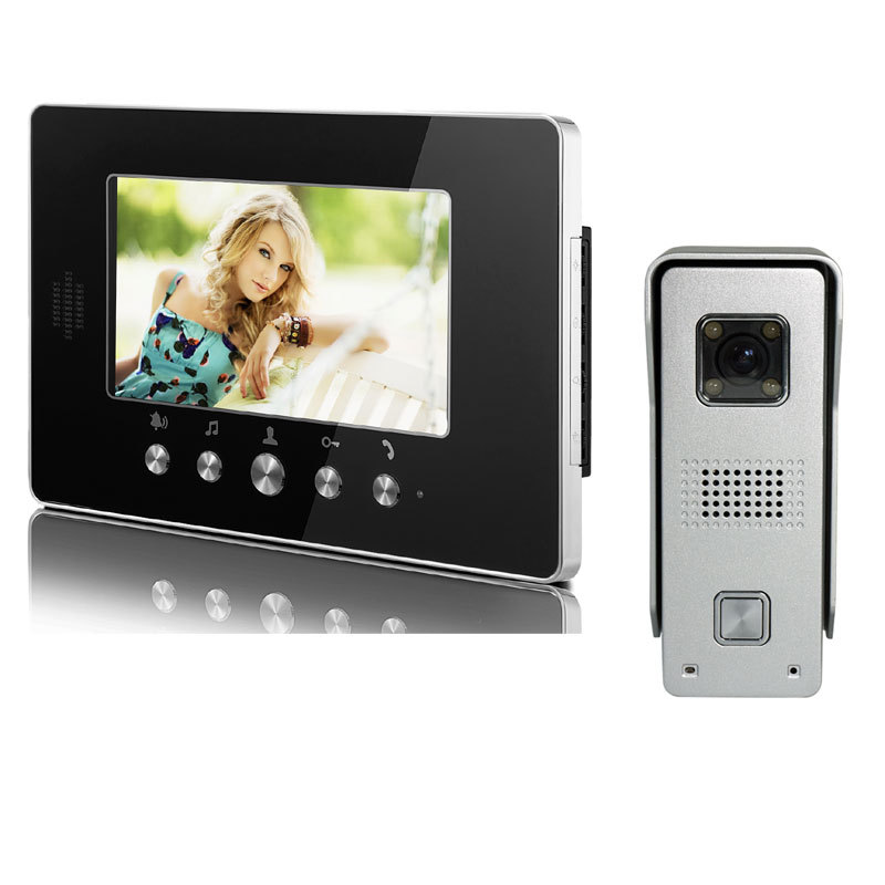 7inch Color Touch Key LCD Monitor Video Door Phone Intercom Doorbell Home Security IR Camera<br><br>Aliexpress