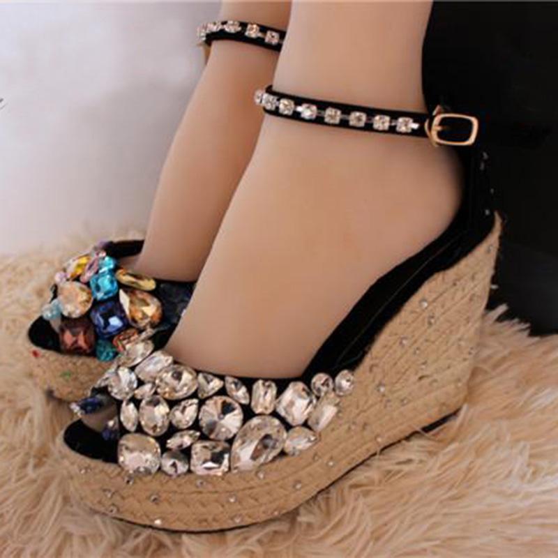 Zapatos Mujer Plataforma Handmade Weave Colored Diamond Beaded Summer Shoes Woman Peep Toe Sandles Rhinestone Wedge Sandals 2016(China (Mainland))