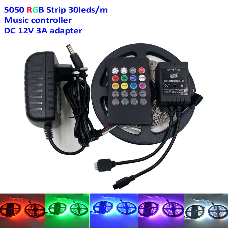 New Decorate ip20 5M Flexible Music RGB Led Strip 5050 30Leds/M Light Tape+IR Music Remote Controller+12V 3A Power(China (Mainland))