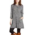 Winter Autumn Dress Warm High Quality Turtleneck Long Sleeve Natural Waist Dress Robe Sexy Casual Loose
