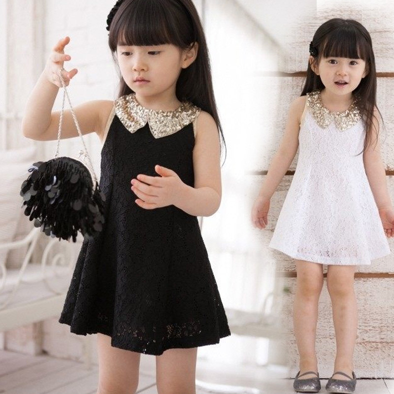 Teenage Girls Sequins Dress Kids Black and White Sleeveless Lace Vest Dresses For Girls' Mini Dress Vestido Infantil MeninaCA196(China (Mainland))