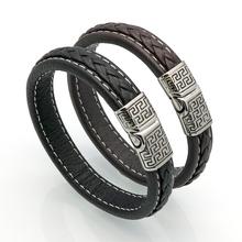 Buy New Brand Vintage Men Bracelets & Bangles Punk Handmade 12mm Wide Cuff Leather Bracelet Woven Wristband Bangles Men Jewelry for $4.54 in AliExpress store