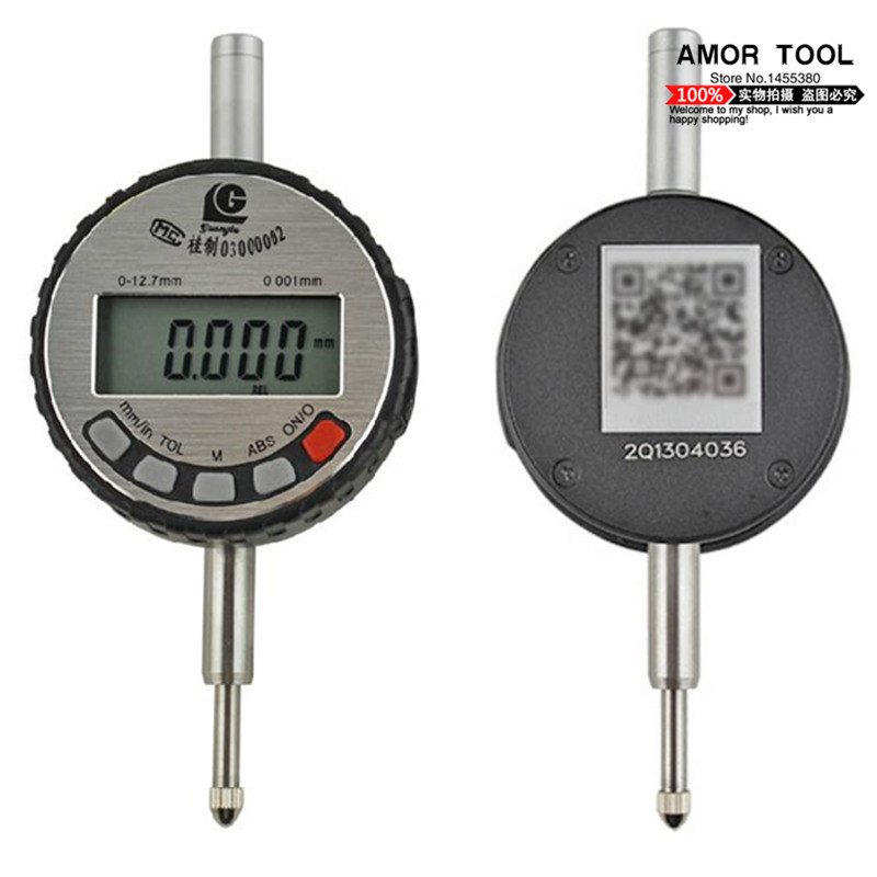 Digital dial indicator without ear 0-12.7mm/0.001mm LCD display electronic test indicators guage stainless steel measuring tool(China (Mainland))