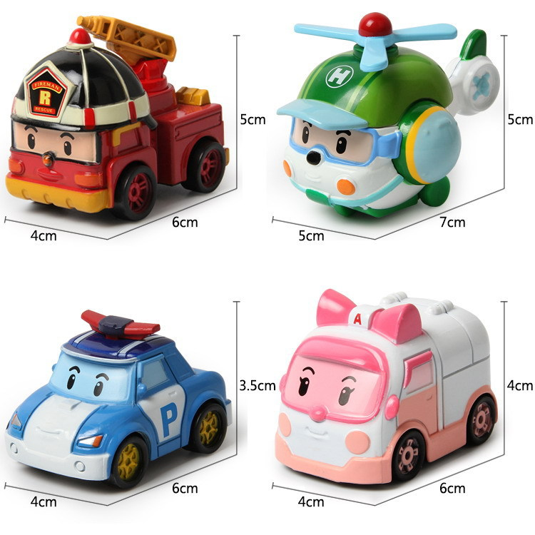 4pcs/lot kids toys robot Transform festival gifts deformation helicopter fire truck police action figure doll boys and girls toy(China (Mainland))