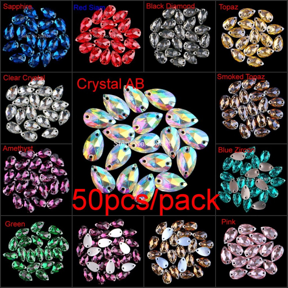 Clear Colored Crystal AB Teardrop Flatback Sew On Resin Rhinestones With Two Holes Sewing On Garment Crystals DIY Sew-on Stones(China (Mainland))