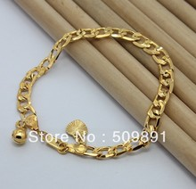 BA1182 Fashion 24 Carat Gold Plated Beads Heart Charms Bracelets Jewelry With 6.5mm Figaro Chain Top Quality Free Shipping(China (Mainland))