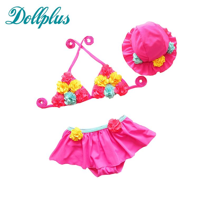 Dollplus 2017 Girls Swimming Bikini 3pieces set children beach babies swimming suit maillot de bain fille kids swimsuit mermaid