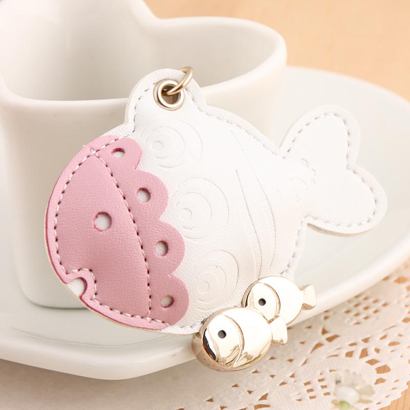 milesi brand original Lovely fish shape design leather keychain for women gift handbag bag pendant keyring Trinket k0172(China (Mainland))