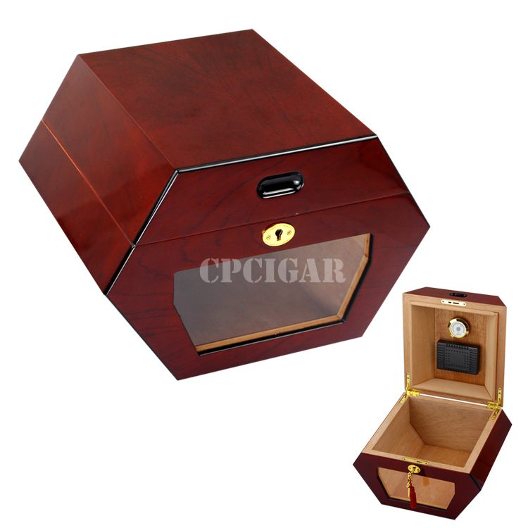 Created Red Hexagon Designed Front Glass Display Cigar Humidor Hold Elegance Storage Box W Gilded Lock Hygrometer Humidifier(China (Mainland))