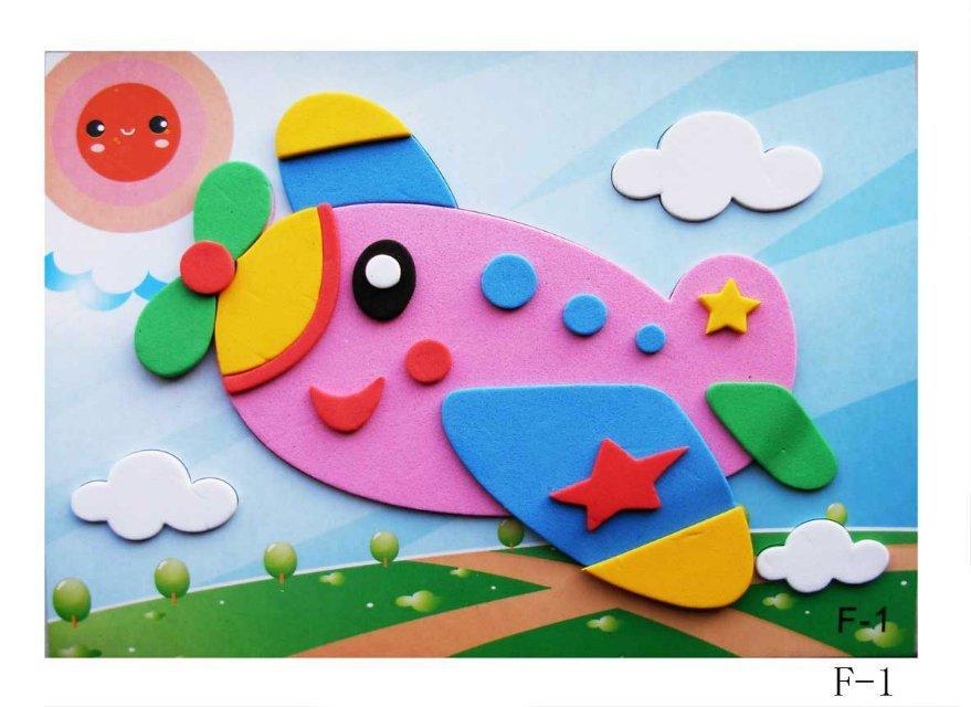Hot Sale20 Designs 3D EVA Cartoon Puzzle Stickers Handmade Self-adhesive foam Painting Early Educational DIY Toys 170x126mm(China (Mainland))