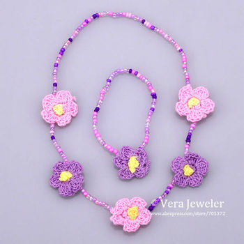 Plastic Seed Bead Handmade Knit Floral Flower Rose Children's Jewellery Sets Necklace Bracelet Kid Jewelry Set Accessories Gift