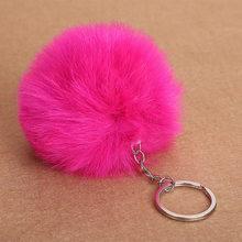 1 pc Adorável Fluffy Bola De Pêlo Pompom Mulheres Keychain Chave Anéis Da Cadeia Pingente Bonito Hairball Artificial Carro Ornamentos Acessórios do Saco(China)