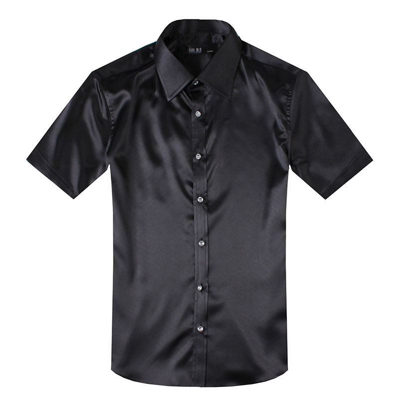 2015 high quality black short sleeve mens silk shirts