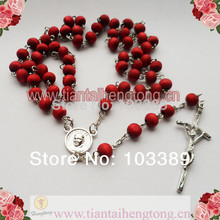 free shipping perfume rose scented rosary necklace/ red bead rosary wooden bead rosary necklace special offer 10pieces/lot(China (Mainland))