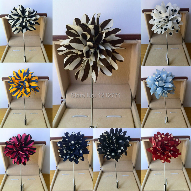 New fashion men brooch flower lapel pin 5cm suit boutonniere fabric yarn pin 12 colors button Stick flower brooches Wholesale(China (Mainland))