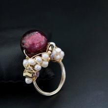 GLSEEVO מקורי טבעי טרי מים הבארוק פרל טבעת לנשים אירוסין מסיבת מתנת יוקרה זיגוג טבעות תכשיטים GR0222(China)